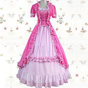 cheap Movie & TV Theme Costumes-Vintage Princess Lolita Rococo Dress Cosplay Costume Female Japanese Cosplay Costumes Blue / Pink / Ink Blue Patchwork Short Sleeve Maxi Long Length / Victorian