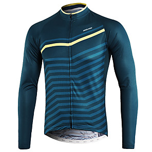 cheap Cycling Jerseys-Arsuxeo Men's Long Sleeve Cycling Jersey Winter Blue+Yellow Bike Top Mountain Bike MTB Road Bike Cycling Back Pocket Sweat-wicking Sports Clothing Apparel / Micro-elastic / Triathlon / Italian Ink