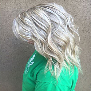 cheap Synthetic Trendy Wigs-Human Hair Blend Wig Medium Length Curly Natural Wave Layered Haircut Multi-color Fashionable Design Women Ombre Hair Capless Women's All Chestnut Brown / Bleach Blonde / African American Wig