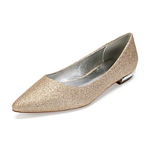 cheap Wedding Shoes-Women's Wedding Shoes Glitter Crystal Sequined Jeweled Flat Heel Pointed Toe Sequin Satin / Synthetics Vintage / British Spring & Summer Champagne / Ivory / Silver / Party & Evening