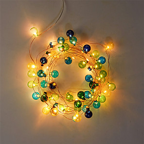 cheap LED String Lights-2m Flexible Plastic Ball LED Light Strips / String Lights 20 LEDs Warm White Party / Holiday / Adorable Batteries Powered 1 set