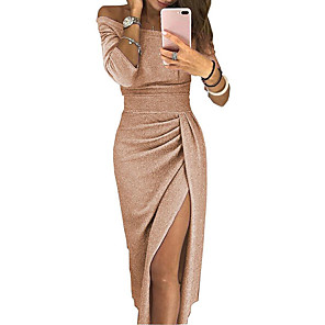 cheap Clutches & Evening Bags-Women's Asymmetrical Bodycon Dress - Long Sleeve Solid Color Pleated Patchwork Asymmetric Spring & Summer Off Shoulder Sexy Cocktail Party New Year Going out Off Shoulder Black Red Blushing Pink Gold