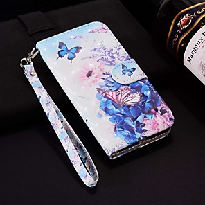 cheap iPhone Cases-Case For Apple iPhone XR / iPhone XS Max Pattern / Flip / with Stand Full Body Cases Laser 3D Pansy Hard PU Leather for iPhone 6 / 6 Plus / 6S / 6S Plus / 7 / 7 Plus / 8 / 8 Plus / XS / X