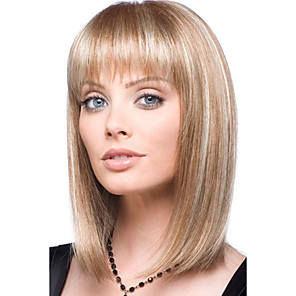cheap Synthetic Trendy Wigs-Human Hair Blend Wig Medium Length kinky Straight Natural Straight Bob Blonde Fashionable Design Adjustable Lovely Capless Women's All Natural Black Medium Auburn / Bleach Blonde 14 inch