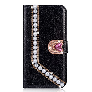 cheap iPhone Cases-Case For Apple iPhone XR / iPhone XS Max Flip / with Stand / Rhinestone Full Body Cases Glitter Shine / Solid Colored Hard PU Leather for iPhone 5c/SE/5s/iPhone 6S/6S Plus/7/7 Plus/X/XS/8 /8 Plus