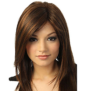 cheap Synthetic Lace Wigs-Synthetic Wig Natural Straight Side Part Wig Medium Length Brown / Burgundy Synthetic Hair 14 inch Women's Fashionable Design Smooth Women Dark Brown
