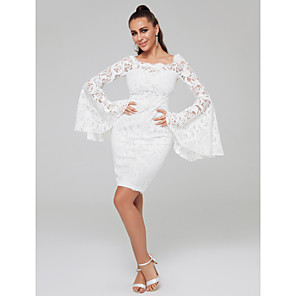 cheap Special Occasion Dresses-Sheath / Column Sexy Cocktail Party Dress Off Shoulder Long Sleeve Short / Mini Lace with Lace Insert 2020