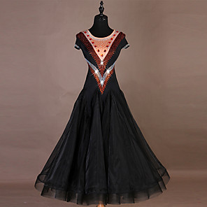 cheap Latin Dancewear-Ballroom Dance Dress Crystals / Rhinestones Women's Training Short Sleeve High Nylon Organza Tulle