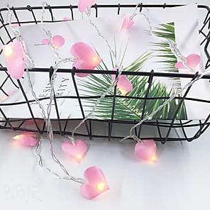 cheap LED String Lights-1.5m String Lights 10 LEDs 1 set Pink Christmas Wedding Decoration AA Batteries Powered