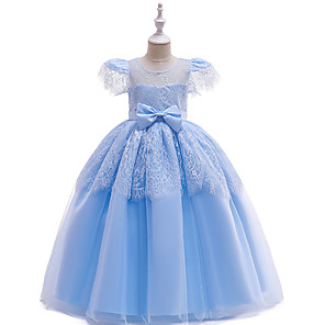 cheap Movie & TV Theme Costumes-Cinderella Dress Masquerade Flower Girl Dress Girls' Movie Cosplay A-Line Slip Cosplay Halloween Purple / Yellow / Pink Dress Halloween Carnival Masquerade Tulle Polyester