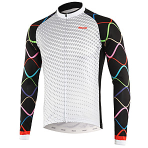 cheap Cycling Jerseys-Arsuxeo Men's Long Sleeve Cycling Jersey Winter Fleece White Bike Top Mountain Bike MTB Road Bike Cycling Back Pocket Sweat-wicking Sports Clothing Apparel / Micro-elastic / Triathlon / Italian Ink