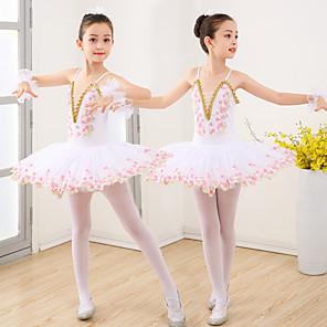 cheap Kids' Dancewear-Kids' Dancewear Ballet Dress Appliques Ruching Split Joint Girls' Training Performance Sleeveless Spandex