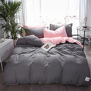 cheap Solid Duvet Covers-Duvet Cover Sets Solid Colored / Contemporary Polyster Yarn Dyed 4 PieceBedding Sets / 4pcs (1 Duvet Cover, 1 Flat Sheet, 2 Shams)