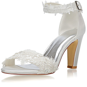 cheap Wedding Shoes-Women's Wedding Shoes Boho / Beach Chunky Heel Open Toe Stitching Lace Lace / Satin Spring &  Fall / Summer Ivory / Party & Evening