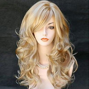 cheap Synthetic Trendy Wigs-Synthetic Wig Curly With Bangs Wig Blonde Medium Length Light golden Light Brown Black / Red Synthetic Hair 60 inch Women's Women Blonde Brown