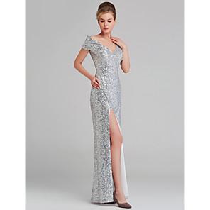 cheap Cocktail Dresses-Sheath / Column Sparkle White Wedding Guest Formal Evening Dress V Neck Sleeveless Floor Length Sequined with Sequin Split 2020