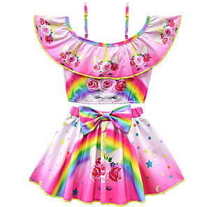 cheap Dolls Accessories-Kids Toddler Girls' Active Cute Unicorn Floral Print Bow Short Sleeves Swimwear Purple