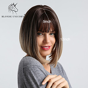 cheap Synthetic Trendy Wigs-Synthetic Wig kinky Straight Natural Straight Bob Neat Bang Wig Medium Length Black / Brown Synthetic Hair 12 inch Women's Fashionable Design Synthetic Ombre Hair Brown BLONDE UNICORN
