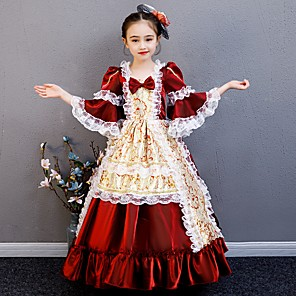 cheap Anime Costumes-Princess Rococo Victorian Medieval Dress Outfits Costume Girls' Kid's Costume Red+Golden Vintage Cosplay Party / Evening Birthday Party Birthday Long Length A-Line