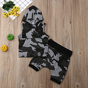cheap Kids' Boots-Baby Boys' Active Basic Print Print Sleeveless Regular Clothing Set Army Green / Toddler