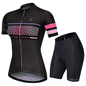 cheap Cycling Jersey & Shorts / Pants Sets-Nuckily Women's Short Sleeve Cycling Jersey with Shorts Black Stripes Gradient Bike Clothing Suit Breathable Sports Polyester Spandex Stripes Mountain Bike MTB Road Bike Cycling Clothing Apparel