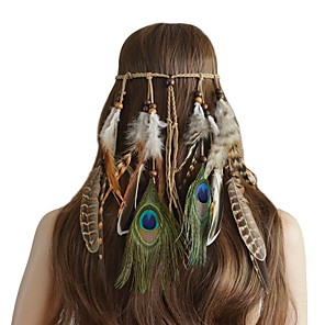 cheap Hair Jewelry-Women's Headbands For Festival Cord Feather Brown 1pc