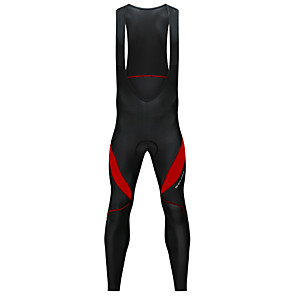 cheap Bike Wheels-WOSAWE Men's Cycling Bib Tights Bike Bib Tights Pants Thermal / Warm Fleece Lining Reflective Strips Sports Spandex Winter Black / White / Black / Red Mountain Bike MTB Road Bike Cycling Clothing
