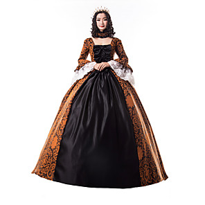 cheap Historical & Vintage Costumes-Princess Maria Antonietta Floral Style Rococo Victorian Renaissance Dress Party Costume Masquerade Women's Lace Costume Black Vintage Cosplay Christmas Halloween Party / Evening 3/4 Length Sleeve