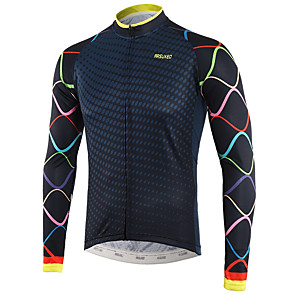 cheap Cycling Jerseys-Arsuxeo Men's Long Sleeve Cycling Jersey Winter White Royal Blue Bike Top Mountain Bike MTB Road Bike Cycling Back Pocket Sweat-wicking Sports Clothing Apparel / Triathlon / Multi-panel Construction