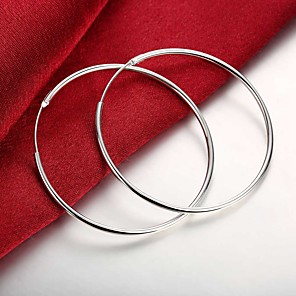 cheap Earrings-Women's Hoop Earrings Hollow Out Stylish Simple Huge Silver Plated Earrings Jewelry Silver For Daily Work 1 Pair
