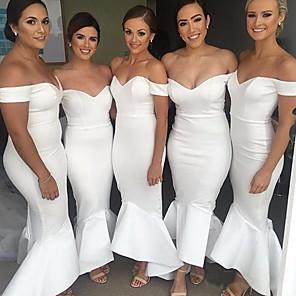 cheap Evening Dresses-Off Shoulder Satin Bridesmaid Dress with Ruffles by JUDY&JULIA