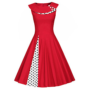 cheap Historical & Vintage Costumes-Women's Swing Dress - Sleeveless Polka Dot Solid Colored Patchwork Vintage Slim Black Red Navy Blue S M L XL XXL