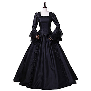 cheap Lolita Dresses-Princess Rococo Victorian Dress Women's Cotton Costume Black Vintage Cosplay Prom Party & Evening Long Sleeve Ankle Length Plus Size