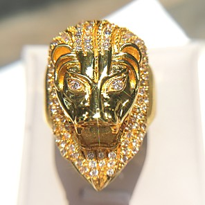 cheap Men's Bracelets-Men's Statement Ring Cubic Zirconia 1pc Gold Copper Imitation Diamond 14K Gold Plated Geometric Rock Club Jewelry Vintage Style Lion Cool