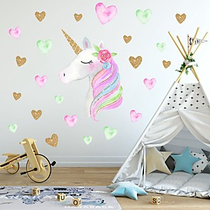 cheap Wall Stickers-Creative Children'S Self-Adhesive Cartoon Unicorn With Pvc Decorative Wall Stickers - Animal Wall Stickers Animals Kids Room / Nursery