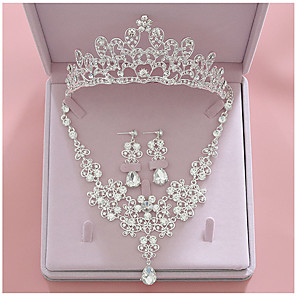 cheap Jewelry Sets-Women's Clear Bridal Jewelry Sets Crown Blessed Luxury Fashion Rhinestone Earrings Jewelry Silver For Wedding Party Engagement 1 set