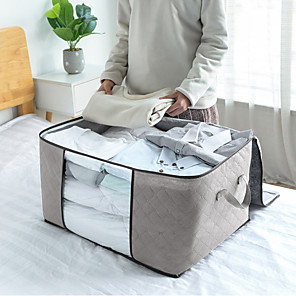 cheap Hooks&Fixtures-large capacity moisture-proof breathable visible non-woven quilt bag home cabinet clothing dust-proof finishing storage bag student moving bag