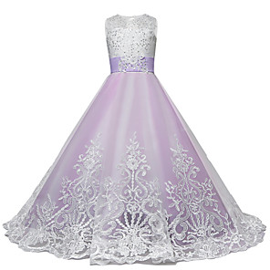 cheap Movie & TV Theme Costumes-Princess Maxi Wedding / Birthday / Pageant Flower Girl Dresses - Lace / Tulle Sleeveless Jewel Neck with Lace / Bow(s) / Paillette