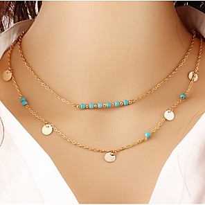 cheap Necklaces-Women's Choker Necklace Chain Necklace Layered Vintage Boho Chrome Gold 45 cm Necklace Jewelry 1pc For Daily Work / Collar Necklace / Charm Necklace / Collar Necklace