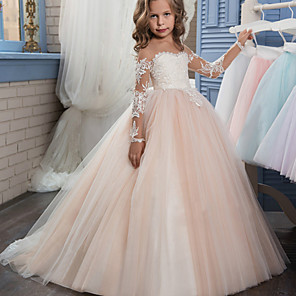 cheap Latin Dancewear-Ball Gown Sweep / Brush Train Wedding / Birthday / Pageant Flower Girl Dresses - Lace / Tulle Long Sleeve Off Shoulder with Lace / Embroidery / Appliques