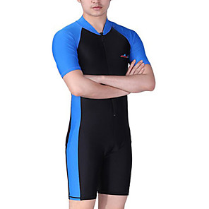cheap Wetsuits, Diving Suits & Rash Guard Shirts-Dive&Sail Men's Rash Guard Dive Skin Suit Diving Suit SPF50 UV Sun Protection Quick Dry Short Sleeve Front Zip - Swimming Diving Surfing Patchwork / High Elasticity / Beach