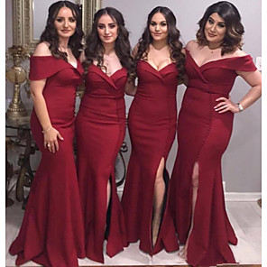 cheap Bridesmaid Dresses-Mermaid / Trumpet Off Shoulder Floor Length Jersey Bridesmaid Dress with Split Front