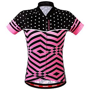 cheap Cycling Jerseys-WOSAWE Women's Short Sleeve Cycling Jersey Polyester Blushing Pink Bike Sweatshirt Jersey Top Mountain Bike MTB Road Bike Cycling Breathable Back Pocket Sweat-wicking Sports Clothing Apparel