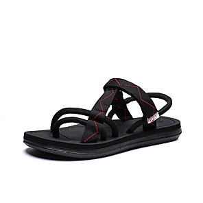 cheap Men's Sandals-Men's Comfort Shoes Elastic Fabric Spring & Summer Vintage Sandals Breathable Black / Black / Red