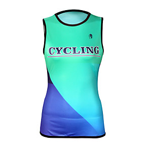 cheap Cycling Jerseys-ILPALADINO Women's Sleeveless Cycling Jersey Elastane Mint Green Geometic Bike Jersey Top Road Bike Cycling UV Resistant Quick Dry Moisture Wicking Sports Clothing Apparel