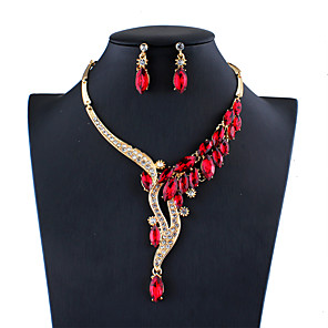 cheap Jewelry Sets-Women's Blue Red Gray Crystal Bridal Jewelry Sets Geometrical Fashion Rhinestone Earrings Jewelry White / Red / Dark Blue For Wedding Engagement 1 set