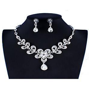 povoljno Religijski nakit-Žene Bijela Svadbeni nakit Setovi Poveznica / lanac Cvijet Botanički Jedinstven dizajn Moda Elegantno Umjetno drago kamenje Naušnice Jewelry Srebro Za Božić Vjenčanje Party Angažman Dar 1set