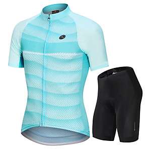 cheap Wall Stickers-Nuckily Men's Short Sleeve Cycling Jersey with Shorts Mint Green Stripes Gradient Bike Clothing Suit Breathable Sports Polyester Spandex Stripes Mountain Bike MTB Road Bike Cycling Clothing Apparel