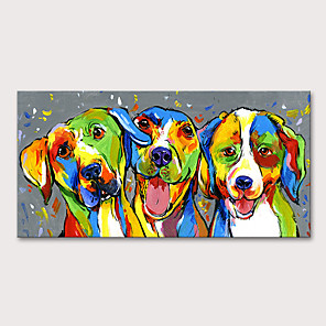 cheap Abstract Paintings-Oil Painting Hand Painted - Animals Pop Art Modern Stretched Canvas