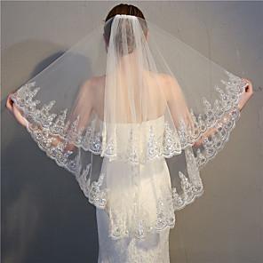 cheap Wedding Veils-Two-tier Classic Style / Lace Applique Edge Wedding Veil Fingertip Veils with Appliques / Paillette 33.46 in (85cm) Lace / Tulle / Drop Veil